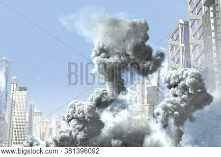 Huge Smoke Pillar And Fire In The Modern City, Concept Of Industrial Disaster Or Terroristic Act On