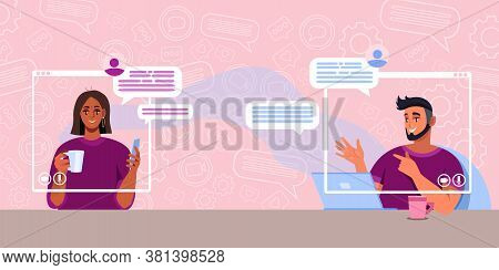Virtual meeting or call concept with cheerful young couple talking in internet. Online relationship illustration with communicating man and women. Virtual meeting or video conference vector background