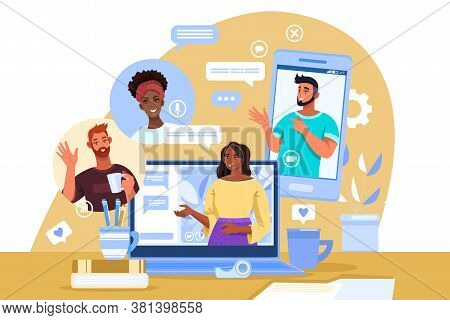 Virtual meeting illustration with diverse students, female tutor, laptop, smartphone, home workplace. Video call or conference concept with men and women working together. Virtual meeting flat banner