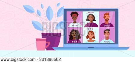 Video call background with diverse people communicating in internet, laptop screen, home plant. Virtual meeting illustration in cartoon flat style with men and women faces. Video call vector banner