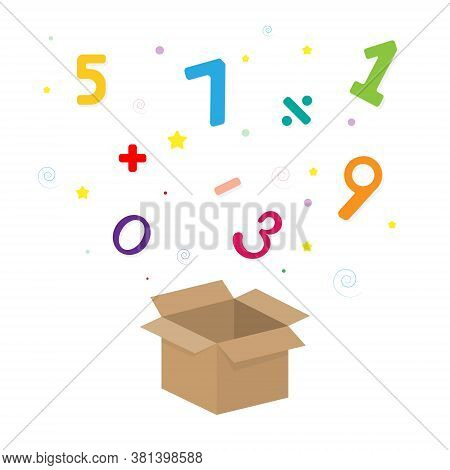 Banner With The Image Of The Arithmetic Digital Set. Numeral In Box.