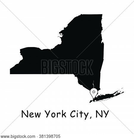 New York City On New York State Map. Detailed Ny State Map With Location Pin On Nyc City. Black Silh