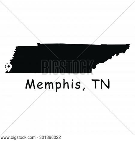 Memphis On Tennessee State Map. Detailed Tn State Map With Location Pin On Memphis City. Black Silho