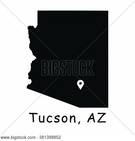 Tucson On Arizona State Map. Detailed Az State Map With Location Pin On Tucson City. Black Silhouett