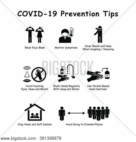 Covid-19 Pandemic Prevention Tips. Pictogram Vector Depicting Preventive And Safety Measures To Prev