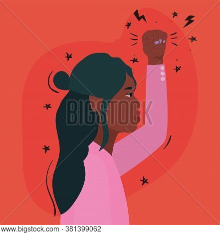 Black Woman Cartoon With Fist Up In Side View Design, Manifestation Protest And Demonstration Theme