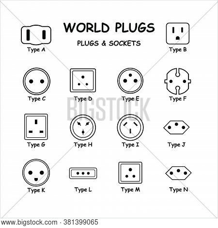 International World Plugs And Sockets Types Diagram Set. Vector Diagram Depicting Electric Plugs And