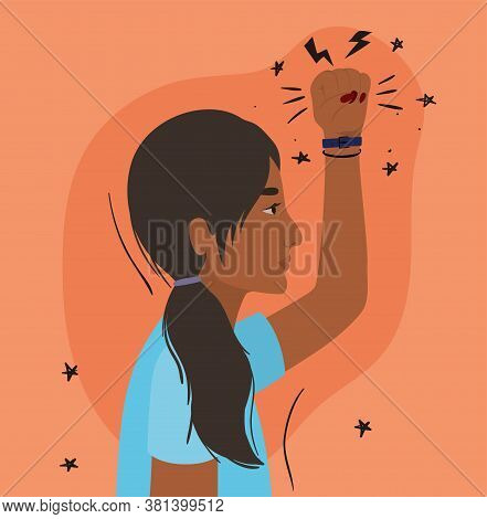 Latin Woman Cartoon With Fist Up In Side View Design, Manifestation Protest And Demonstration Theme