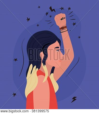 Woman Cartoon With Black Hair And Fist Up In Side View Design, Manifestation Protest And Demonstrati