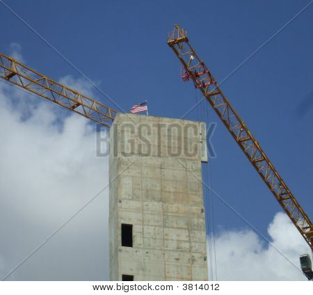 Flag Planted On Top Of New Construction