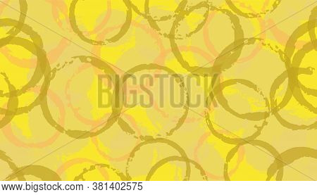 Modern Watercolor Circle Stamps Textile Print. Round Shape Splotch Overlapping Elements Vector Seaml