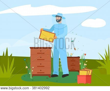 Beekeeper With Honeycomb On Apiary Icon. Bearded Apiarist In Blue Protective Costume And Hat Holding