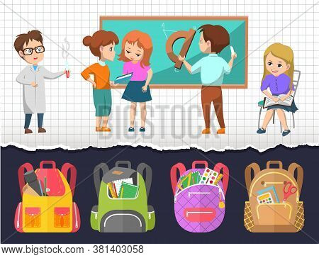 Children At Lessons Vector, Satchels With Supplies For Classes. Boy Drawing On Blackboard, Geometry