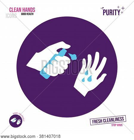 Icon Of A Hand Holding A Bottle With An Antiseptic. Spray Application Of Spray On Hands.