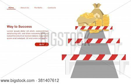 Website Landing Page Template Cartoon Way To Success Hurdle On The Way To Wealth.