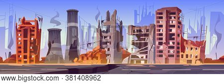 Destroyed Buildings On City Street After War Or Natural Disaster. Vector Cartoon Illustration Of Aba