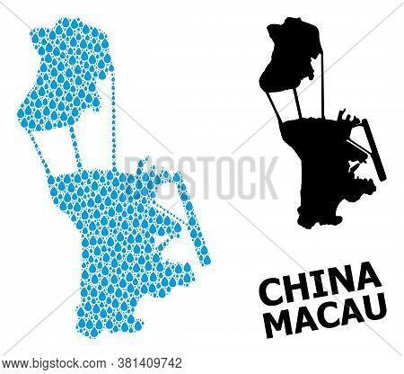 Vector Mosaic And Solid Map Of Macau. Map Of Macau Vector Mosaic For Pure Water Ads. Map Of Macau Is