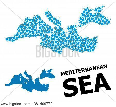 Vector Mosaic And Solid Map Of Mediterranean Sea. Map Of Mediterranean Sea Vector Mosaic For Clean W