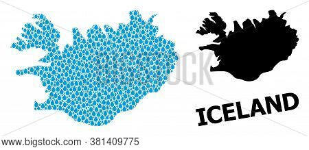 Vector Mosaic And Solid Map Of Iceland. Map Of Iceland Vector Mosaic For Drinking Water Ads. Map Of