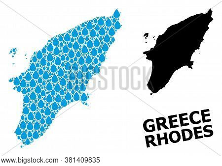 Vector Mosaic And Solid Map Of Rhodes Island. Map Of Rhodes Island Vector Mosaic For Drinking Water