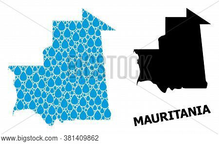 Vector Mosaic And Solid Map Of Mauritania. Map Of Mauritania Vector Mosaic For Pure Water Ads. Map O