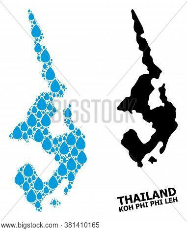 Vector Mosaic And Solid Map Of Koh Phi Leh. Map Of Koh Phi Leh Vector Mosaic For Drinking Water Ads.
