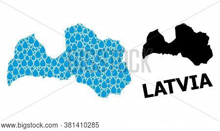 Vector Mosaic And Solid Map Of Latvia. Map Of Latvia Vector Mosaic For Drinking Water Ads. Map Of La