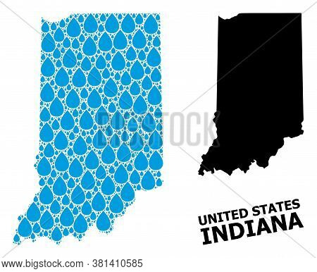 Vector Mosaic And Solid Map Of Indiana State. Map Of Indiana State Vector Mosaic For Drinking Water