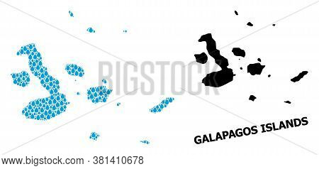 Vector Mosaic And Solid Map Of Galapagos Islands. Map Of Galapagos Islands Vector Mosaic For Clean W