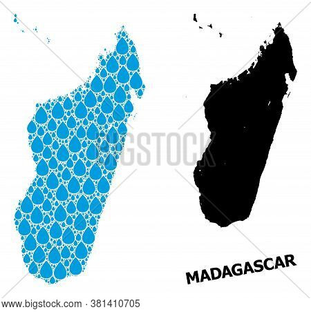 Vector Mosaic And Solid Map Of Madagascar Island. Map Of Madagascar Island Vector Mosaic For Pure Wa
