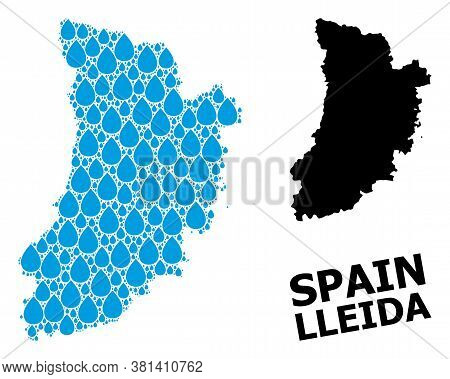 Vector Mosaic And Solid Map Of Lleida Province. Map Of Lleida Province Vector Mosaic For Drinking Wa