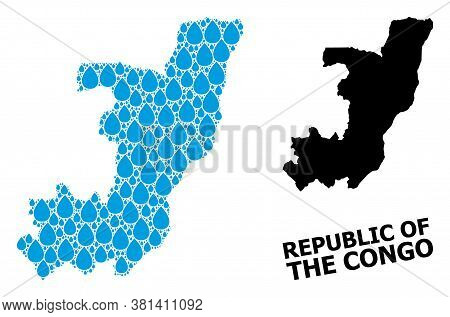 Vector Mosaic And Solid Map Of Republic Of The Congo. Map Of Republic Of The Congo Vector Mosaic For