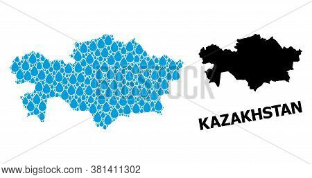 Vector Mosaic And Solid Map Of Kazakhstan. Map Of Kazakhstan Vector Mosaic For Drinking Water Ads. M