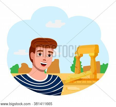 Young Cheerful Guy Make Selfie During Traveling. Traveler Make Photo Ancient Ruins Background, Rome.