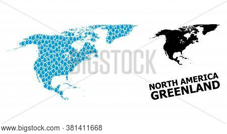 Vector Mosaic And Solid Map Of North America And Greenland. Map Of North America And Greenland Vecto