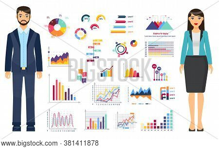 Businesspeople Wearing Office Dresscode Standing Near Graphs, Charts, Graphics, Diagram, Web Analyti