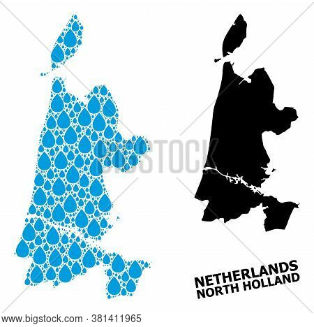 Vector Mosaic And Solid Map Of North Holland. Map Of North Holland Vector Mosaic For Drinking Water