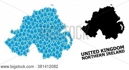 Vector Mosaic And Solid Map Of Northern Ireland. Map Of Northern Ireland Vector Mosaic For Drinking