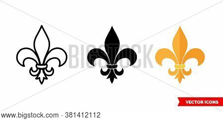 Fleur De Lis Symbol Icon Of 3 Types Color, Black And White, Outline. Isolated Vector Sign Symbol.