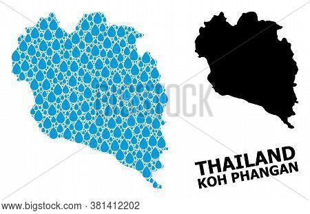 Vector Mosaic And Solid Map Of Koh Phangan. Map Of Koh Phangan Vector Mosaic For Pure Water Ads. Map