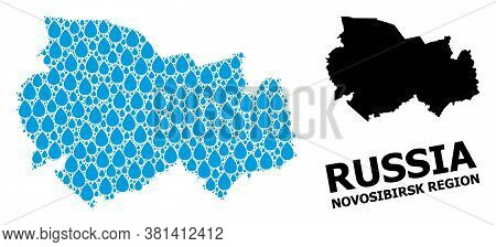 Vector Mosaic And Solid Map Of Novosibirsk Region. Map Of Novosibirsk Region Vector Mosaic For Drink