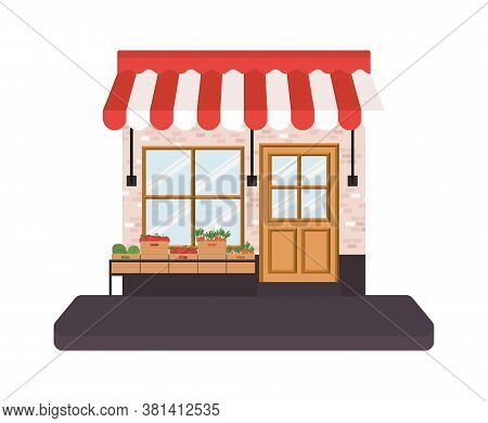 Store With Tent And Vegetables Inside Boxes On Shelf Design Of Shop Supermarket And Market Theme Vec