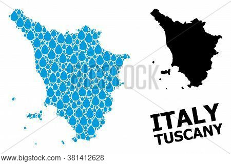 Vector Mosaic And Solid Map Of Tuscany Region. Map Of Tuscany Region Vector Mosaic For Clean Water A