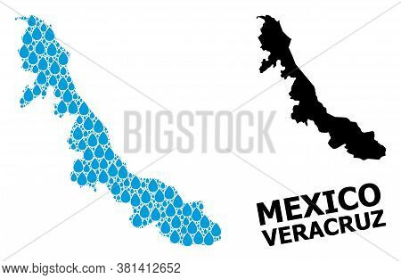 Vector Mosaic And Solid Map Of Veracruz State. Map Of Veracruz State Vector Mosaic For Pure Water Ad