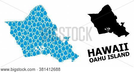 Vector Mosaic And Solid Map Of Oahu Island. Map Of Oahu Island Vector Mosaic For Clean Water Ads. Ma
