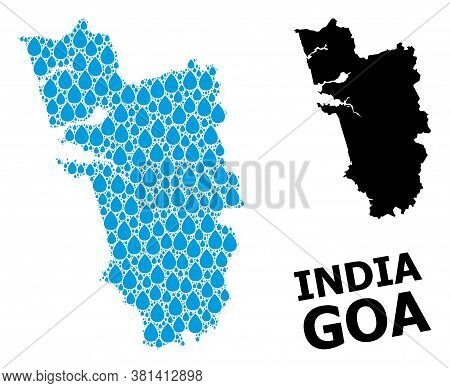 Vector Mosaic And Solid Map Of Goa State. Map Of Goa State Vector Mosaic For Drinking Water Ads. Map