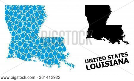 Vector Mosaic And Solid Map Of Louisiana State. Map Of Louisiana State Vector Mosaic For Clean Water
