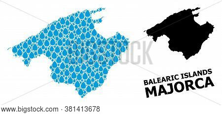 Vector Mosaic And Solid Map Of Majorca. Map Of Majorca Vector Mosaic For Clean Water Ads. Map Of Maj