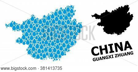 Vector Mosaic And Solid Map Of Guangxi Zhuang Region. Map Of Guangxi Zhuang Region Vector Mosaic For
