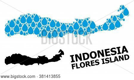 Vector Mosaic And Solid Map Of Indonesia - Flores Island. Map Of Indonesia - Flores Island Vector Mo